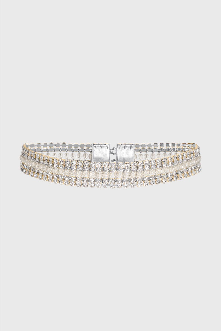 Silver belt with crystal inlay - Silver belt with crystal inlay - Paco Rabanne