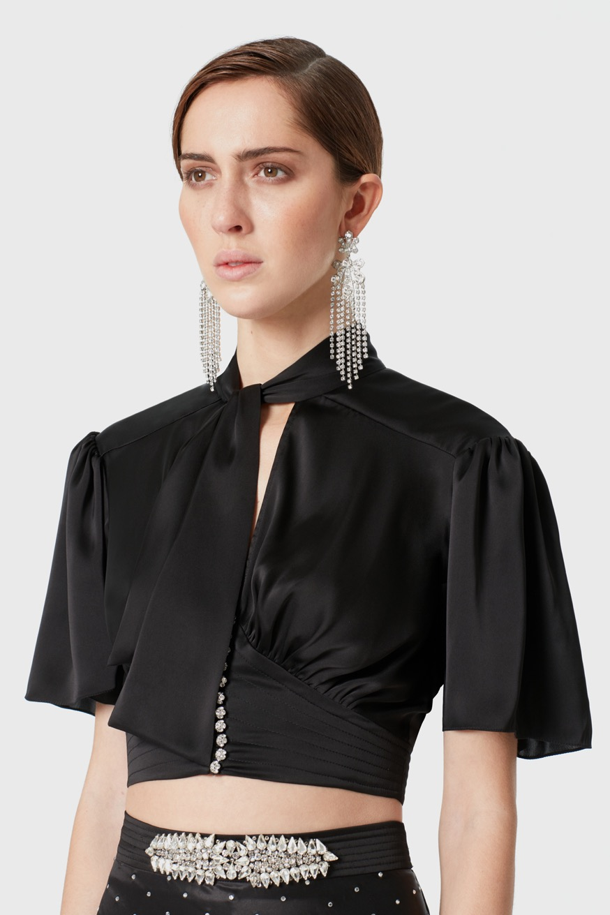 Short black satin top - Short black satin top - Paco Rabanne