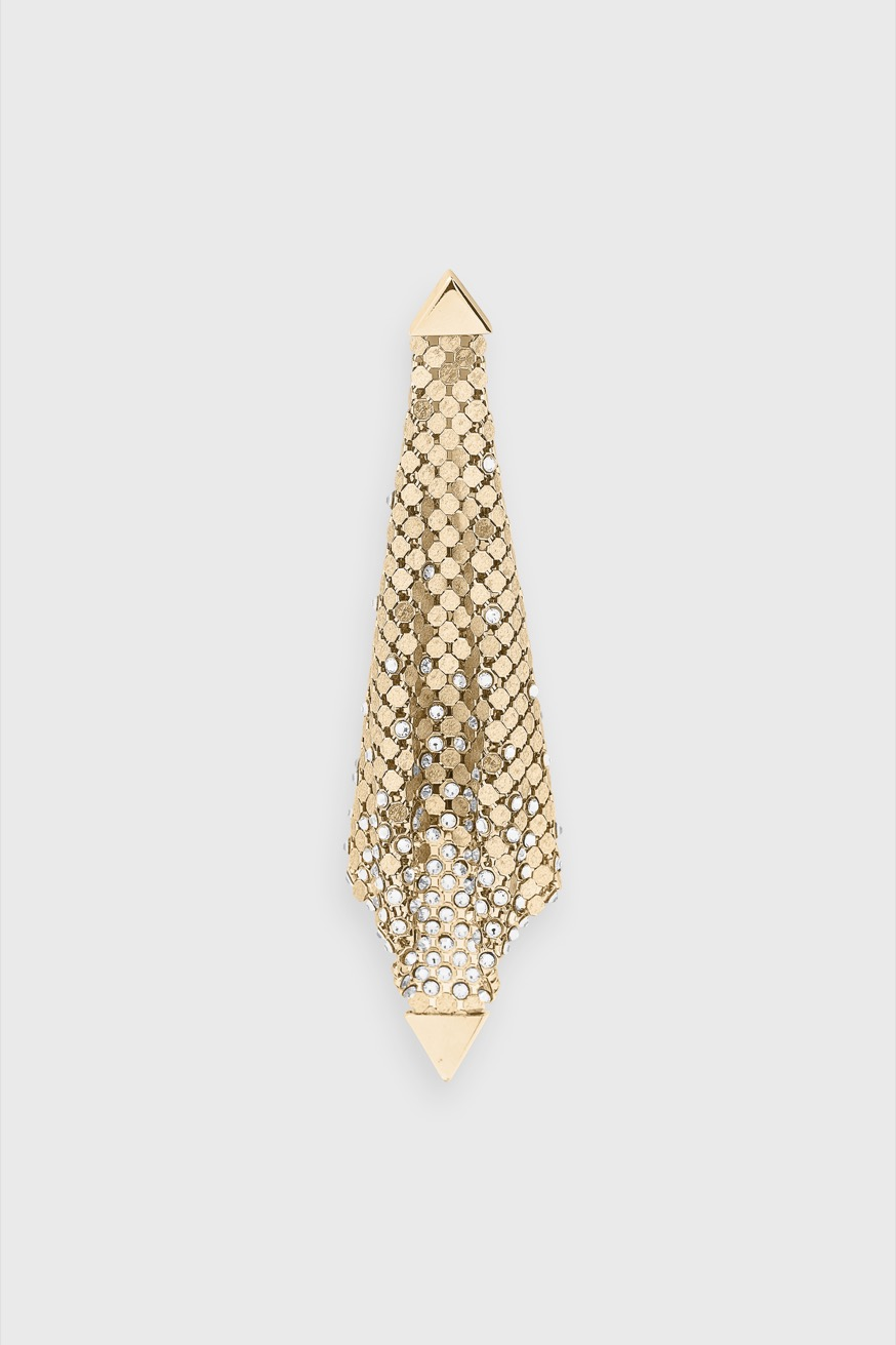 Pliable and soft gold mesh drop earring with rhinestones - Pliable and soft gold mesh drop earring with rhinestones - Paco Rabanne